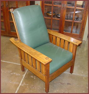 L. & J. G. Stickley Original Morris Chair with Slats under each arm.