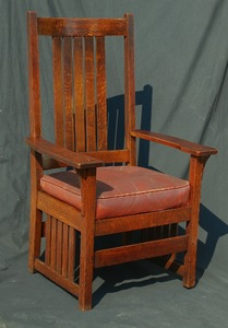 Rare L J G Stickley Tall Arm Chair with Slats to the Floor  signed