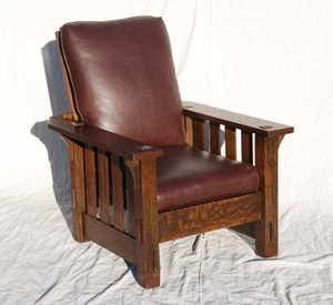 Original J.M. Young large Morris chair with slats to the floor and thru-tenons.