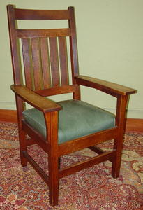 Rare Gustav Stickley Tall Arm Chair with matching Rocker