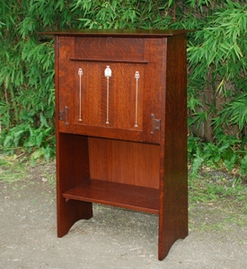 Replica Gustav Stickley Ellis designed inlaid drop-front desk.
