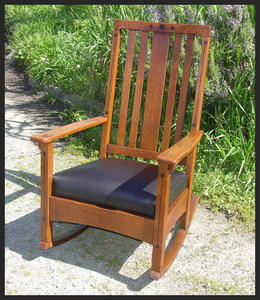 Rare Ebon-Oak Inlaid Limbert Rocker