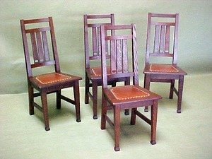 Set of six Crawford Chair Co. dining chairs.