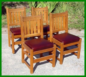 Set of Four Original L.&J.G. Stickley Oak Dining Chairs with Spring Cushions