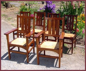 Set of Six Vintage Signed Gustav Stickley Dining Chairs