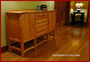 ...(ITEM RETIRED)...Greene and Greene Style Custom Cherry and Ebony Buffet