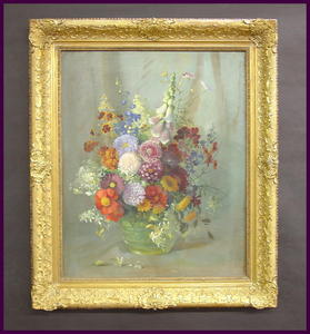 Original  Floral Oil Painting on Artist Board in Quality Vintage Frame