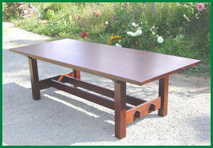 Gustav Stickley Inspired Large Dining and Conference Table with Leaves