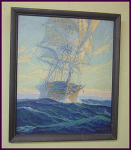 Serigraph Sailing Ship by Joe Duncan Gleason. 1881-1959