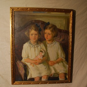 Large Oil Painting Portrait Two Girls with Doll