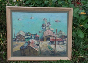 1957 Original oil painting Anton Dahl China Camp Listed California Impressionism Signed front & back: