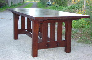 "Gustav Stickley Harvey Ellis Inspired Custom Rectangular Dining Table With Bread Board Ends and Removable 12"" leaves."