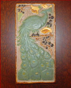 Arts and Crafts Period Tile, Peacock Design