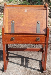 Rare Stickley Brothers drop front desk with hammered straps