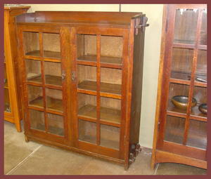 Early Gustav Stickley 2 Door Bookcase with Keyed Tenons
