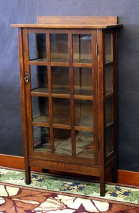 Gustav Stickley Single Door China Cabinet Display original finish, signed.