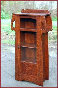 Accurate Replica Charles Limbert's Rare Uncatalogued Diminutive Bookcase with Cut-Outs and Exterior