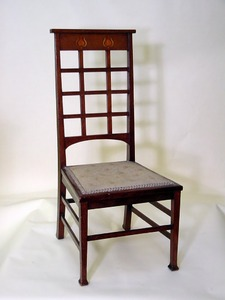 English Arts and Crafts inlaid chair