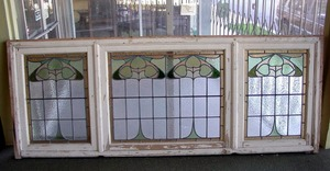 Large Vintage Arts and Crafts period 3-panel stained glass window.
