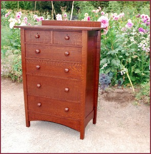Gustav Stickley Harvey Ellis Style Custom Highboy Dresser with two small drawers over four full dr