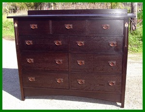 Gustav Stickley Harvey Ellis inspired Custom Tall Inlaid Oak Dresser