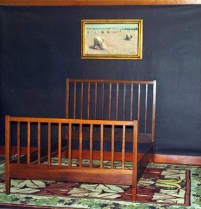 Vintage L & J G Stickley Handcraft spindle bed, signed.  Circa 1906 - 1912.