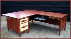 Greene and Greene Style Custom  Executive Desk Computer Work Station. Mahogany, Ebony, Curly Maple