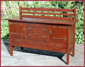 Original Gustav Stickley Strap Hinge Buffet Sideboard.