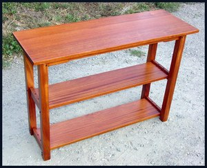 Greene and Greene Inspired Custom  Bookshelf  /  Sofa Table of Solid Mahogany with True Ebony Pegs