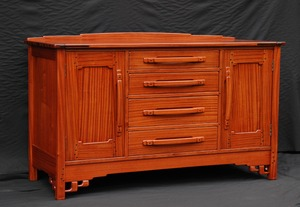 Voorhees Craftsman Custom Greene & Greene Inspired Sepele Sideboard with Ebony pegs