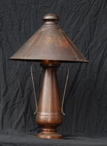 Large Benedict Studios Hammered Copper and Mica Table Lamp Van Erp Stickley era