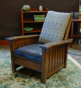 L. & J. G. Stickley Slant Arm Morris Chair with slats to the floor and thru tenons