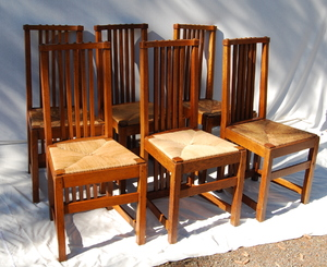 Rare set of six Limbert Spindle Yellowston chairs
