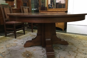 Stickley era Mission Oak 60 inch Dining Table and 5 leaves, opens to 10 feet
