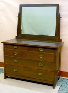 Gustav Stickley low dresser chest with mirror