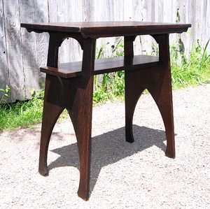 Vintage Arts & Crafts Secessionist oak stand Stickley era