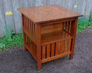 L & J G Stickley Encyclopedia bookstand, original finish, signed.
