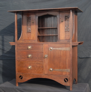 English Liberty Style Arts and Crafts Oak Sideboard Cupboard