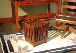 EARLY STICKLEY BROTHERS WASTE BASKET WITH CUT OUT DESIGNS IN ORIGINAL FINISH.