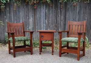 Pair Early Gustav Stickley V Back Arm Chairs, signed.