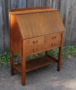 Gustav Stickley Drop Front Desk with two small drawers over one full drawer.  Signed.