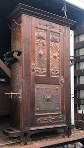 English Arts and Crafts Oak Armoire in original finish, likely Shapland & Petter 1890