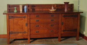 Voorhees Craftsman Workshops Custom Large Sideboard with strap hinges, Gustav Stickley inspired.
